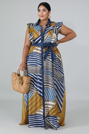 Flutter Chevron Maxi Dress