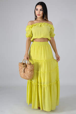 Ruffle Maxi Skirt Set
