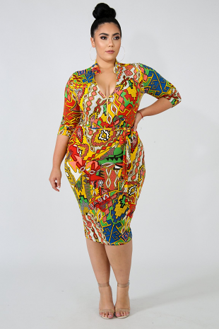 Tribal Zip Up Body-Con Dress