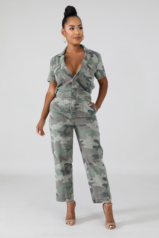 Camouflage Denim Jumpsuit