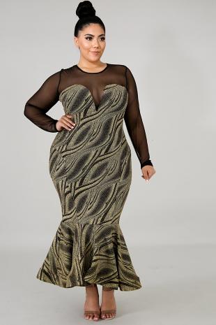 Glitter Sash Midi Dress