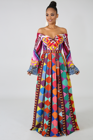 Color Pattern Maxi Dress