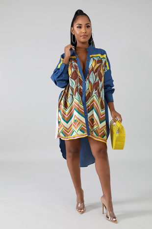 Chevron Leaves Tunic Denim