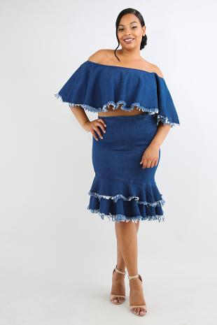 Tiered Frayed Denim Skirt Set