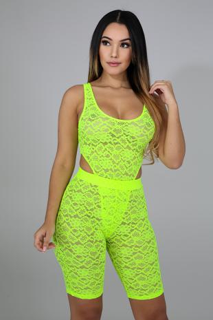 Neon Lace Bodysuit Set