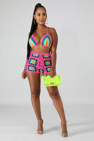 Color Knitted Short Set