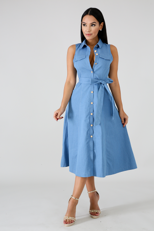 Dolly Flare Denim Dress