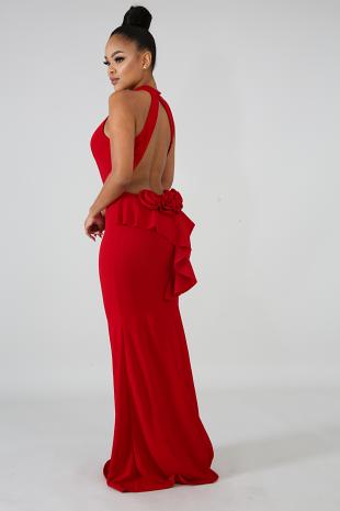 Rose Back Maxi Dress