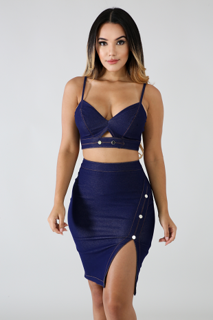 Denim Skirt Set