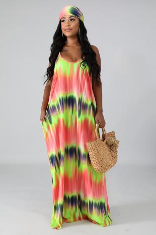 Neon Streaks Maxi Dress