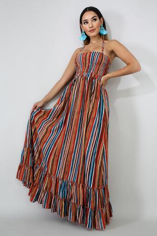 Accordion Ruffle Maxi Dress