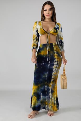 Indigo Tie Dye Skirt Set