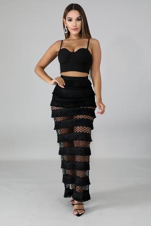 Swing Fringe Maxi Skirt Set
