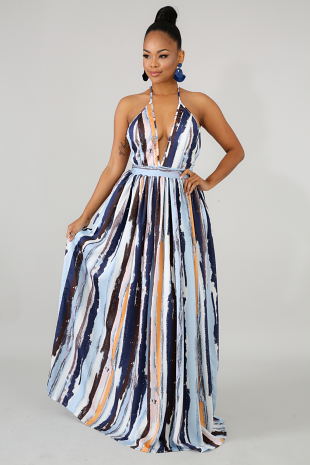 Ocean Abstract Maxi Dress
