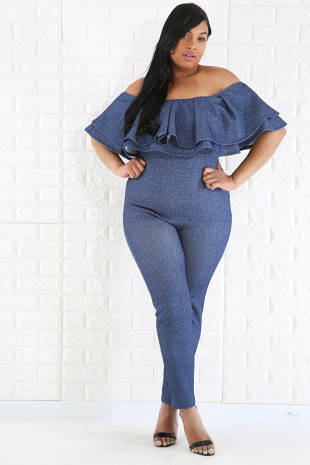 Double Flare Denim Jumpsuit