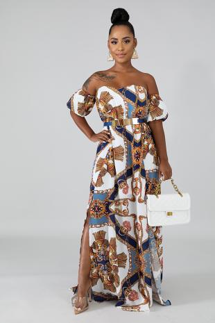 Filigree Slit Maxi Dress