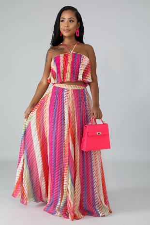 Pleated Maxi Skirt Set