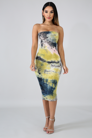 Navy Tube Tie Dye Body-Con Dress