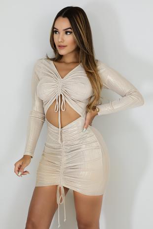 Shine Scrunched Body-Con Dress