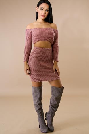 Thick Long Sleeve Off Shoulder Skirt Set