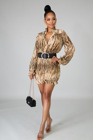 Tiger Pleats Dress