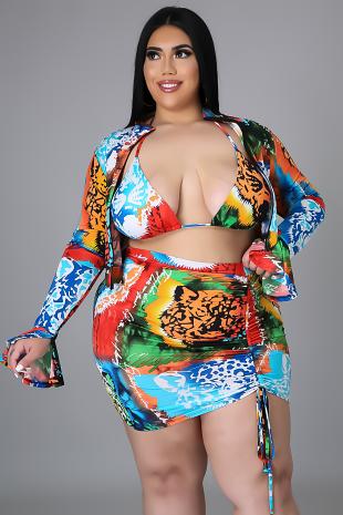 3pc Tropical  Baecation Skirt Set