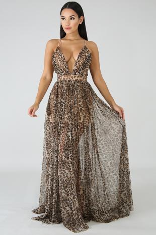 Cheetah Sheer Maxi Dress