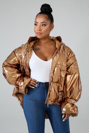 Metallic Hoodie Jacket