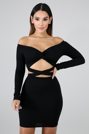 Knit Twist Body-Con Dress
