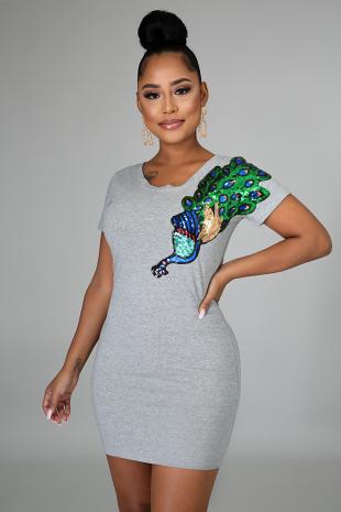 Peacock Jersey Dress