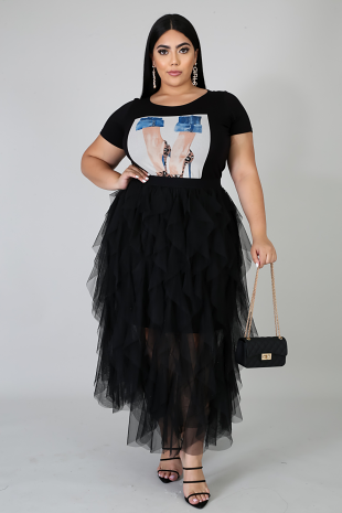 Tulle Ruffle Maxi Skirt