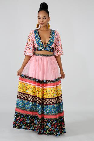 Jersey Floral Skirt Set