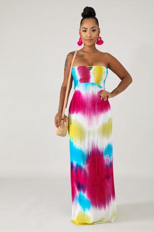 Tube Tie Dye Maxi Dress