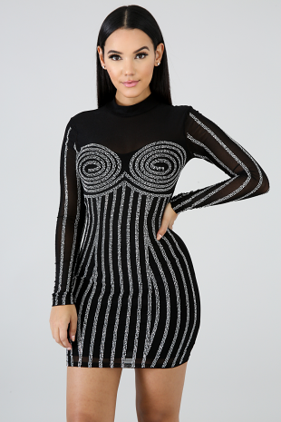Owl Rhinestone Body-Con Dress
