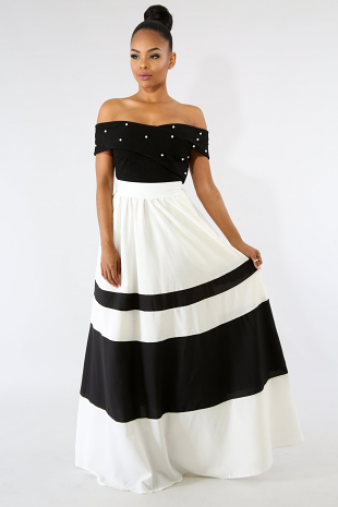Bardot Stripe Maxi Skirt