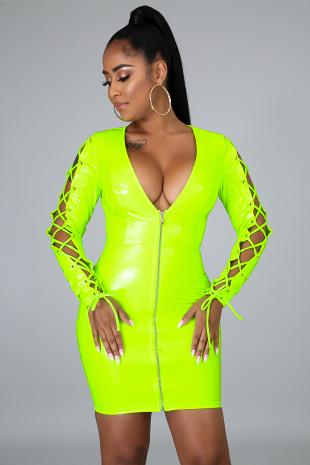 Neon Latex Body-Con Dress