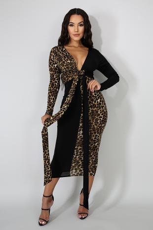 Leopard Front Bow Midi Dress