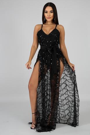 Slits Sequin Maxi Dress