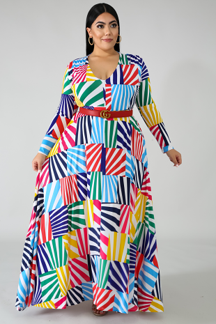 Color Blocks Maxi Dress