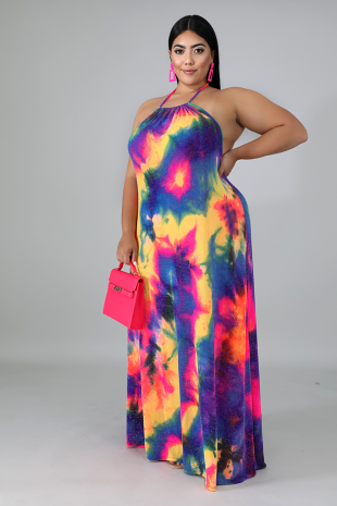 Flowing Sparkle Tie Dye Maxi Dress