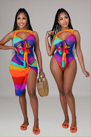 Beach Gal Bodysuit Skirt Set