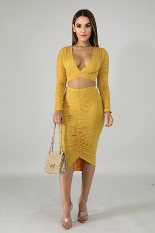 Scrunched Silk Skirt Set