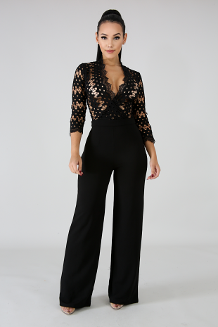 Embroidered Bell Jumpsuit