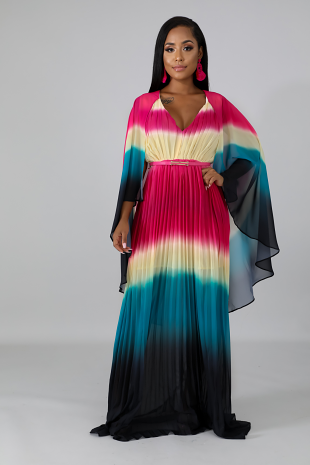 Pleated Sheer Wing Maxi Dress