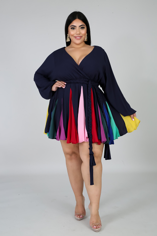 Colorful Pleated Flare Dress