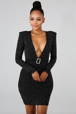 V Neck Glitter Model Dress