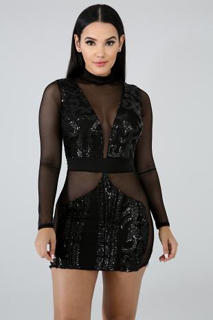 Sequin Sheer Body-Con Dress