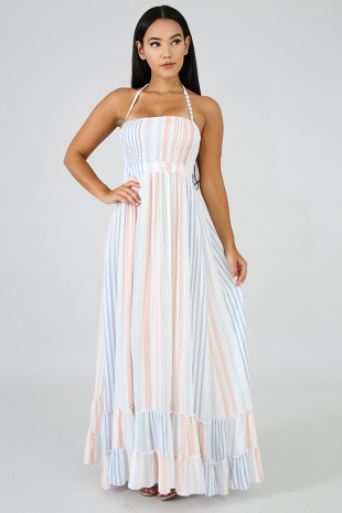 Soft Palette Ruffle Maxi Dress