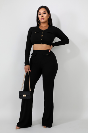 Ribbed Knit Button Pant Set