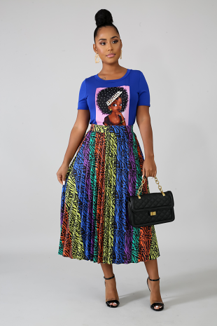 Wild Color Pleated Skirt